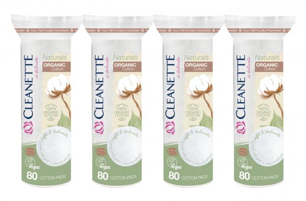 Cleanette Naturals Bio-Wattepads, 4x 80 Stück